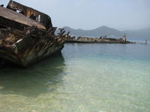 Shipwreck at Low Tide Stock Photography
