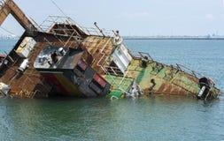 Shipwreck in mersin port Royalty Free Stock Photos