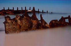 Shipwreck by moonlight. Shipwreck at Bulwer, Moreton Island, by moonlight Royalty Free Stock Photography