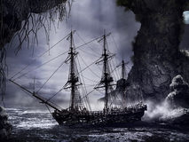 Shipwreck in mystery cave Royalty Free Stock Image