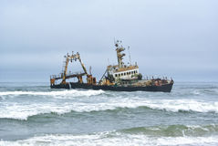 Shipwreck on Namibian Coast Stock Photos