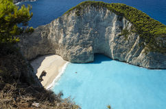 Shipwreck Navagio beach. Famous Shipwreck Navagio beach in Zakinthos, Greece. Zakynthos is an Greek island located in Ionian sea, and this beach is it`s most Royalty Free Stock Image