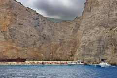 Shipwreck on the Navagio Beach - Zakynthos Island, landmark attraction in Greece. Ionian Sea. Seascape Royalty Free Stock Image