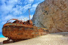 Shipwreck on the Navagio Beach - Zakynthos Island, landmark attraction in Greece. Ionian Sea. Seascape. Shipwreck on the Navagio Beach in Zakynthos Island royalty free stock photos