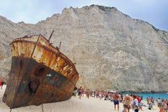 Ionian Sea. Shipwreck on the Navagio Beach - Zakynthos Island, landmark attraction in Greece. Seascape Royalty Free Stock Image