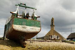 Shipwreck near a chapel (Brittany, France) Stock Image