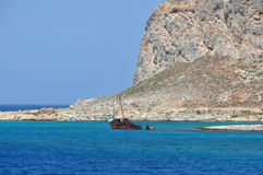Shipwreck near the Gramvousa Island Stock Photography