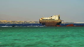 Shipwreck near the Reef in the Red Sea, Egypt stock footage