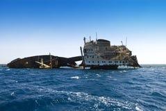 Shipwreck near Tiran Egypt. Famous old ship-wrech near the Isle of Tiran, Egypt Stock Image