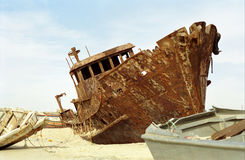 Shipwreck, Nouakchott, Mauritania. This huge ship got stuck on the Atlantic cost somewhere in Mauritania Stock Photos