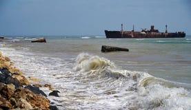 Shipwreck od Costinesti, Rumunia Fotografia Royalty Free