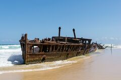Free Shipwreck Of SS Maheno, An Ocean Liner From New Zealand Which Ran Aground On Seventy-Five Mile Beach On Fraser Island, Queensland Stock Photos - 170546993