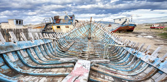 Shipwreck on Old Boat Scrap Yard. Stock Photos