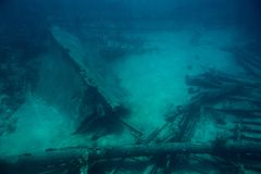 Shipwreck of old boat. On bottom of caribbean sea in Cayman island Stock Images