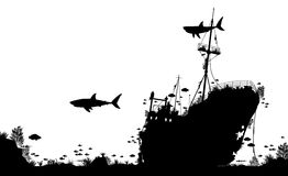 Shipwreck reef. Editable vector silhouette foreground of coral, sharks and fish around a sunken boat Stock Photography
