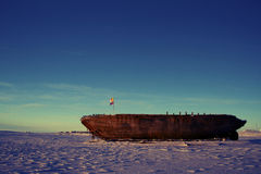 Shipwreck remains of the Maud, Cambridge Bay Nunavut. Shipwreck remains of the Maud, named for Queen Maud of Norway, a ship built for Roald Amundsen for his stock photo