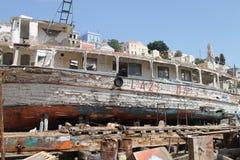 Shipwreck repairing Stock Photo