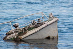 Shipwreck in a river Royalty Free Stock Photo