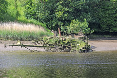 Shipwreck. On the river Teifi, Wales Stock Images