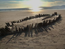 Shipwreck On The Rossbeigh Beach. Ireland royalty free stock image