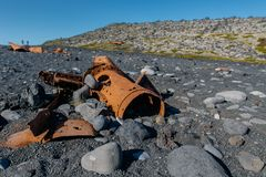 Shipwreck ruins at Djupalonssandur beach Stock Images