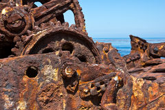 Shipwreck Rust. Close up of a shipwreck and the metal that turn to rust. Selective focus is in the middle Stock Photo