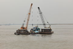 Shipwreck salvage on the Irrawaddy Royalty Free Stock Images