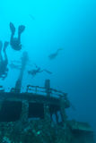 Shipwreck and Scuba Diver, Maldives stock images