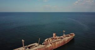 Shipwreck at sea aerial view stock video