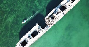 Shipwreck at sea birds eye aerial view stock video