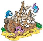 Shipwreck at sea bottom vector illustration
