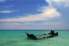 Shipwreck in Shallows Royalty Free Stock Images