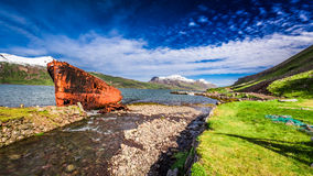 Shipwreck on the shore, Iceland Royalty Free Stock Images
