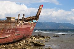Shipwreck in shoreline. Shipwreck detail during a low tide time in shoreline Royalty Free Stock Photography