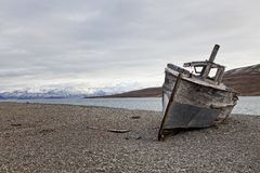 Shipwreck in Skansbukta, Svalbard Islands, Norway Stock Images