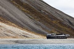 Shipwreck in Skansbukta, Svalbard, Norway Stock Photography