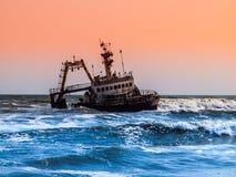 Shipwreck on Skeleton Coast in Namibia Royalty Free Stock Photo