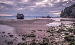Shipwreck in South corfu Notos beach.  Royalty Free Stock Photo