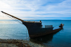 Shipwreck south of Punta Arenas Chile. Shipwreck south of Punta Arenas, Chile, depicting a lonely, decrepit state forgotten at the end of life Royalty Free Stock Photography
