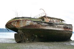 Shipwreck Stern. An abandoned shipwreck on Puget Sound in Washington Royalty Free Stock Image