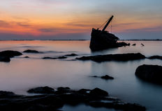 Shipwreck sylwetka Obraz Stock