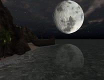 Shipwreck on a tropical island at moonlight. Shipwreck of a pirate sail boat on a tropical island at moonlight - 3D rendering Royalty Free Stock Photos
