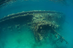 Shipwreck in Tropical Lagoon Royalty Free Stock Image