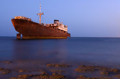 Shipwreck in tropical water Royalty Free Stock Images