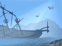 Shipwreck underwater - 3D render Royalty Free Stock Photos