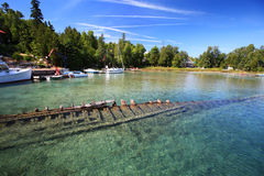 Shipwreck underwater in lake Huron, Tobermory Stock Photography