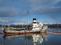 Shipwreck Ushuaia harbour. A semi sunken ship in Ushuaia harbour Royalty Free Stock Photography