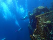 Shipwreck USS Liberty with many diver bubbles - Bali Indonesia Asia stock image