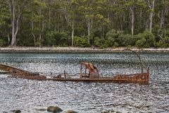 Shipwreck in the water Royalty Free Stock Photo