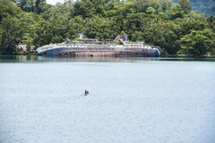 Shipwreck - World Discover - Roderick Bay, Solomon Islands Royalty Free Stock Photo